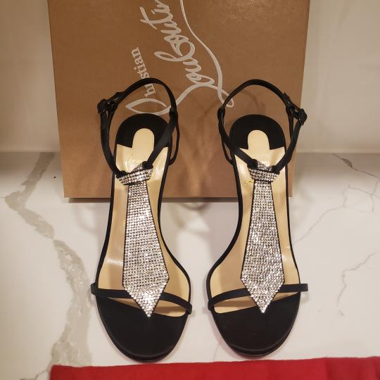 Christian Louboutin T Strap Crystal Strass Tie Black Sandals Image 8