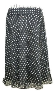 Anne Klein Flared Silk Skirt Black White Polka dot