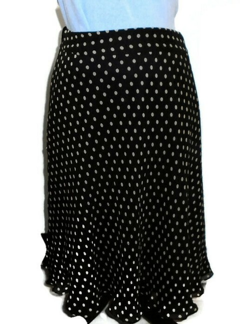 Anne Klein Flared Silk Skirt Black White Polka dot Image 2