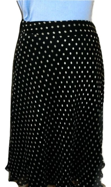 Anne Klein Flared Silk Skirt Black White Polka dot Image 3