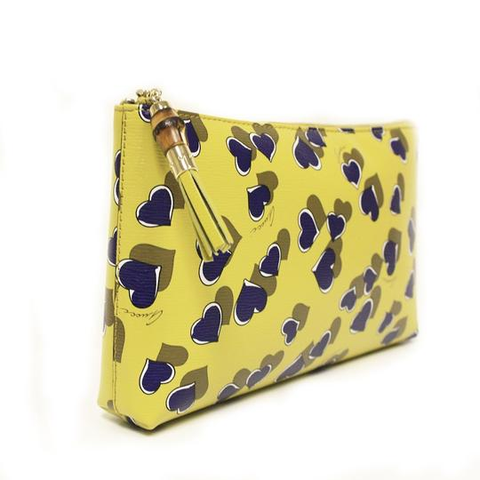 Gucci Heartbeat Leather Pouch Yellow 7309 Clutch Image 1