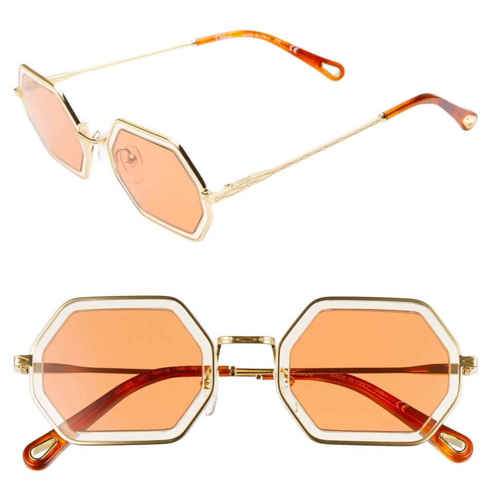 a7d61cb7b Chloé Gold Sand Tally Ce146s - 831 Hexagon Sunglasses - Tradesy