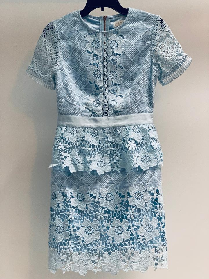 Ted Baker Baby Blue Dixa Layered Skater Short Cocktail Dress Size 2 Xs 75 Off Retail