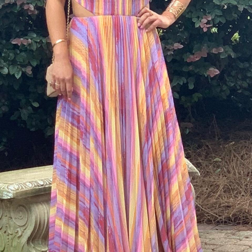 best place for top design top-rated authentic Amur Rainbow Janet Stripe Pleated Gown Long Formal Dress Size 8 (M) 79% off  retail