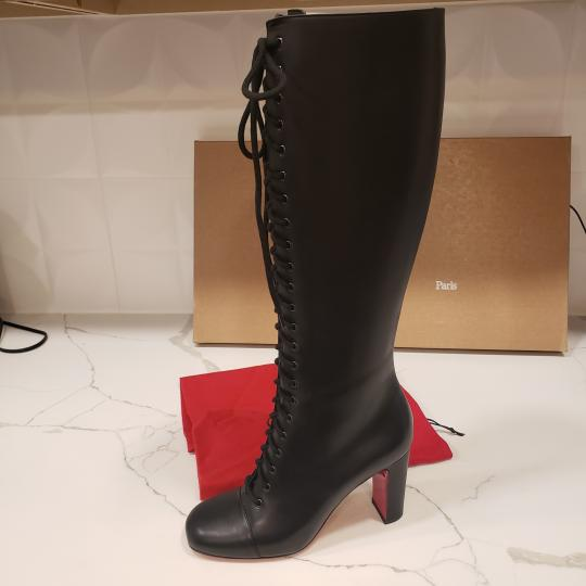 Christian Louboutin Lace Up Corset Knee High Black Boots Image 1