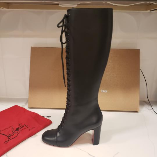 Christian Louboutin Lace Up Corset Knee High Black Boots Image 3