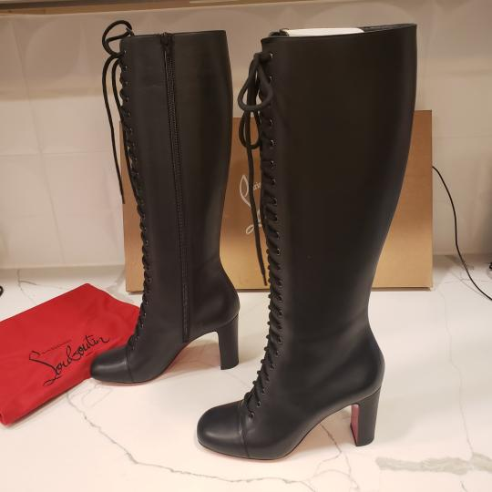 Christian Louboutin Lace Up Corset Knee High Black Boots Image 4