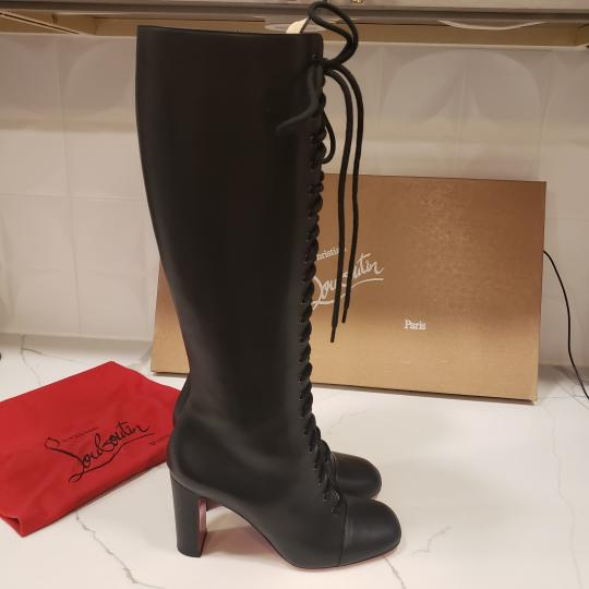 Christian Louboutin Lace Up Corset Knee High Black Boots Image 5