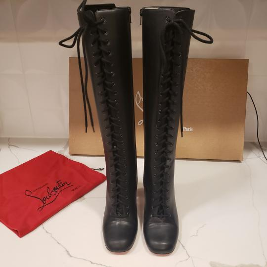 Christian Louboutin Lace Up Corset Knee High Black Boots Image 6