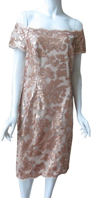 Item - Gold/Copper Beaded Sequin /Gold Party Mid-length Formal Dress Size 12 (L)