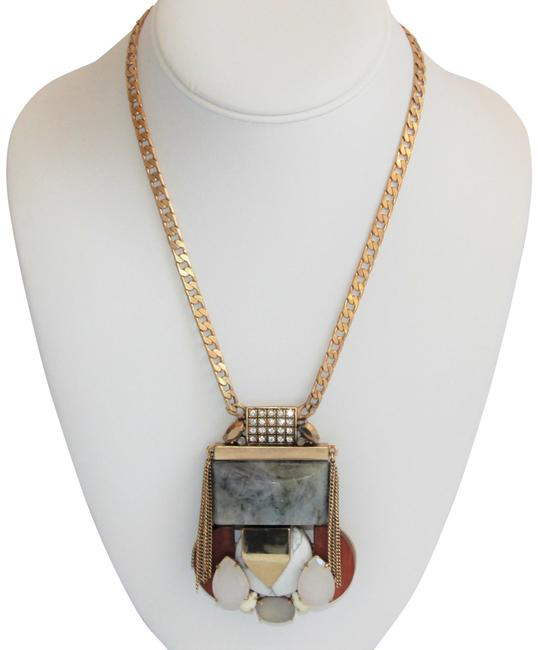 Item - Gold Grey Crew Mixed Stone Gems and Media Pendant Necklace