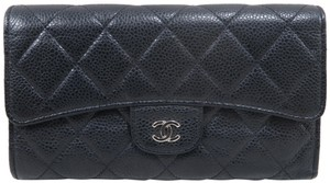 Chanel Black Caviar Quilted Trifold Wallet