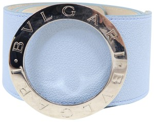 BVLGARI Bvlgari LightBlue Leather Logo Belt