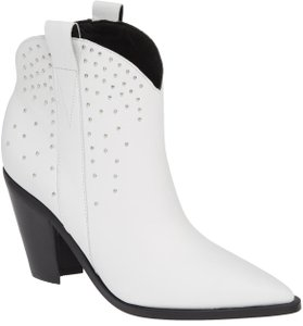 Sigerson Morrison Studded Western Leather Leather Lining Leather Sole White Boots
