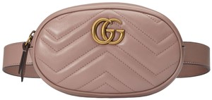 Gucci Marmont Belt Belt Rose Porcelain Cross Body Bag