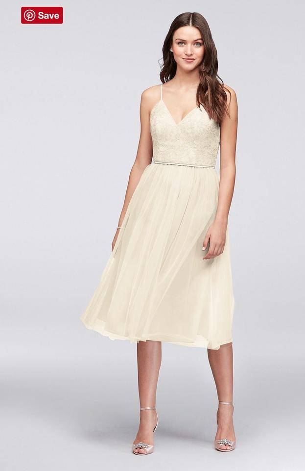 check out good service in stock David's Bridal Ivory Chantilly Lace and Tulle Short Bridesmaid Sexy Wedding  Dress Size 8 (M)