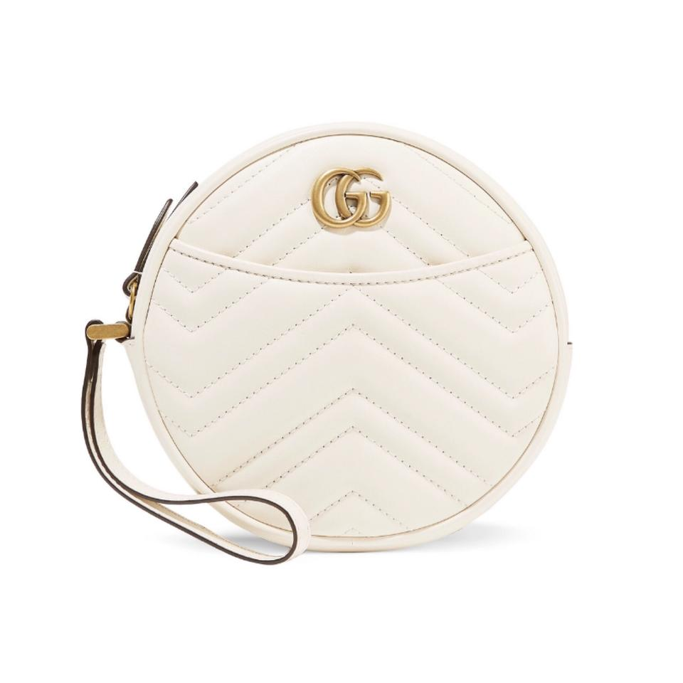 2d47224a2 Gucci Marmont Quilted Circle Round Wristlet White Leather Clutch ...