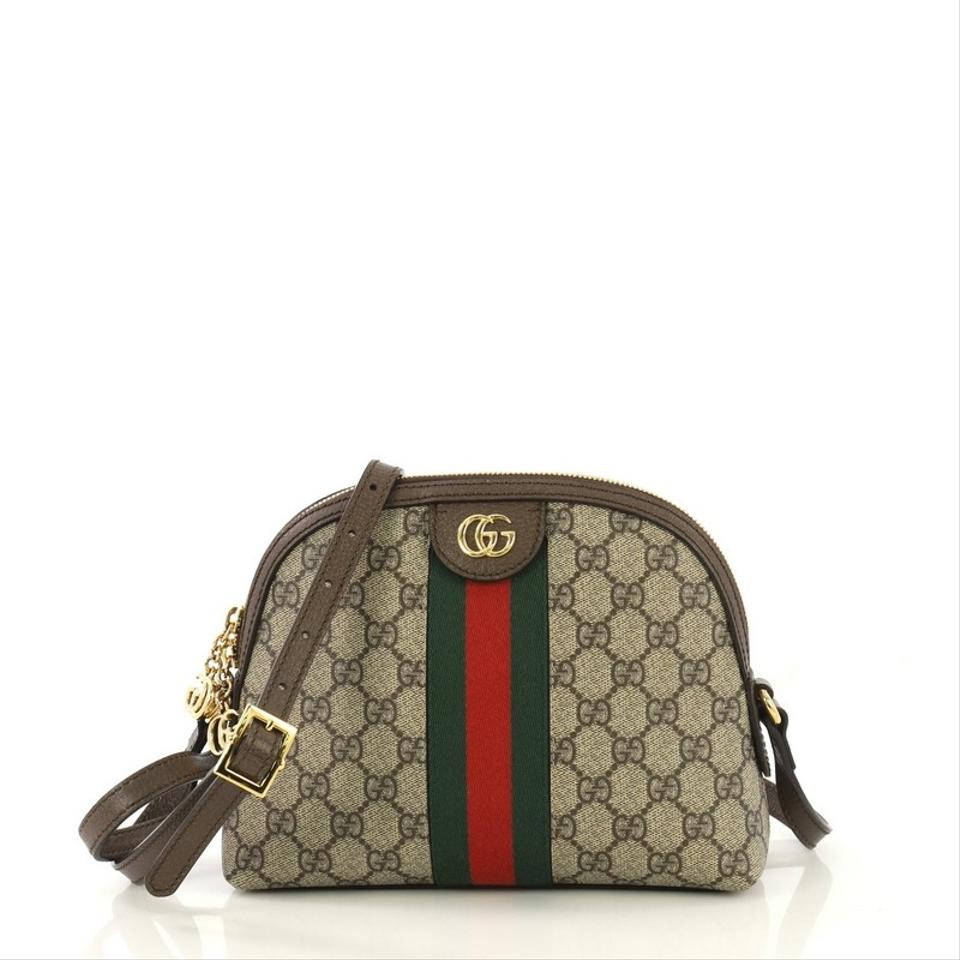 bc2dafb38 Gucci Dome Ophidia Gg Coated Canvas Small Brown Shoulder Bag - Tradesy
