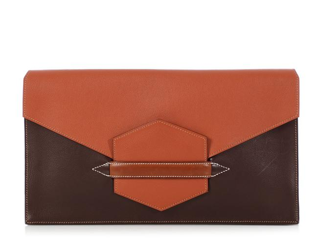 Item - Faco Ii Convertible Tricolor Brown Leather Clutch