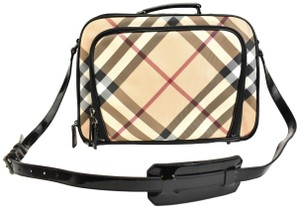 Burberry Nova Check Beige Black Patent Leather Laptop Bag