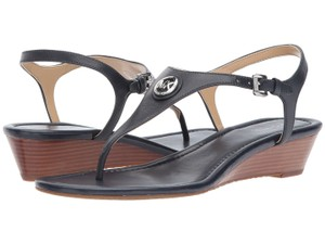 Michael Kors Mk Logo Thong Wedge Leather Blue Sandals