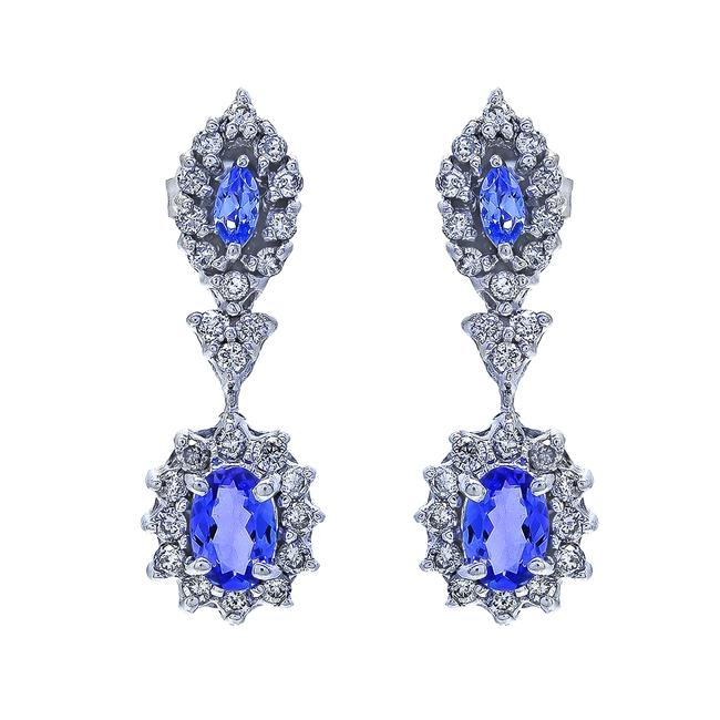 Item - 14k White Gold 0.90 Carat Purple Topaz and 0.50 Carat Diamond Drop Dangle Vintage Earrings