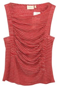 Anthropologie Striped Linen Summer Fall Top RED/ WHITE
