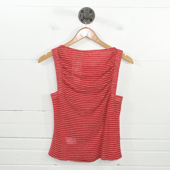Anthropologie Striped Linen Summer Fall Top RED/ WHITE Image 2