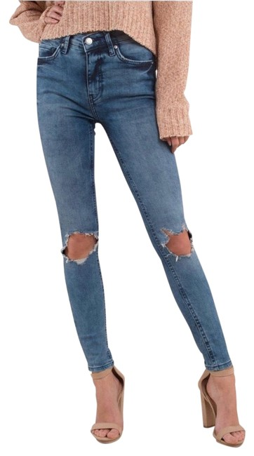 Free People Blue Distressed High-rise Busted Knee Skinnies Skinny Jeans Size 8 (M, 29, 30) Free People Blue Distressed High-rise Busted Knee Skinnies Skinny Jeans Size 8 (M, 29, 30) Image 1