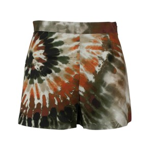Valentino Tie Dye Cotton Print Mini/Short Shorts Green/Multi-Color