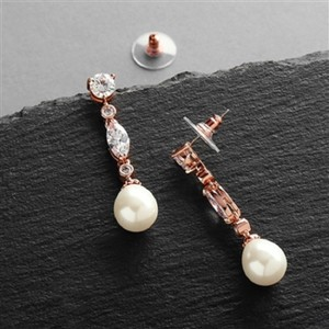 Rose Gold Pearl Drop Event Earrings