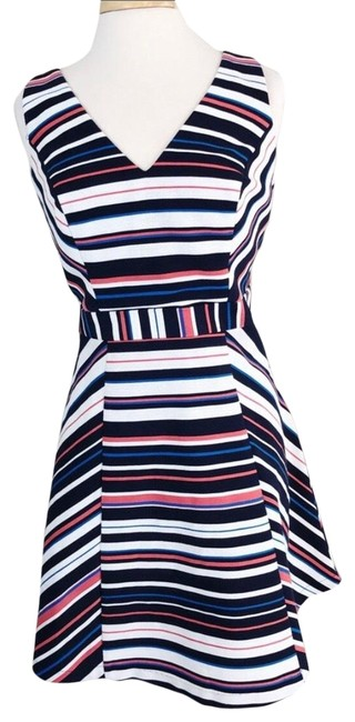 Item - Multi Colored Maeve Stried A Line Cross Back Short Casual Dress Size Petite 12 (L)