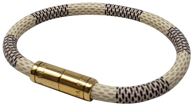 Louis Vuitton Gold Damier Canvas Keep It Wrap Bracelet Louis Vuitton Gold Damier Canvas Keep It Wrap Bracelet Image 1
