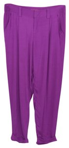 Alice + Olivia Silk Fall Casual Date Night Relaxed Pants PURPLE
