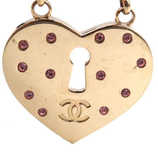 Chanel Ultra Rare XL Key to Heart CC pink crystals gold brooch Image 4