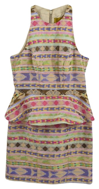 Item - Beige/ Pink/ Green/ Blue/ Gold Peplum Print #175-4 Short Cocktail Dress Size 8 (M)