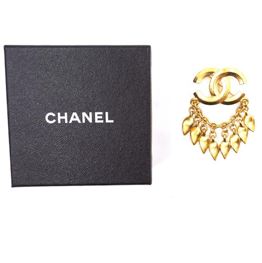 Chanel CC Tassel chain leaf gold hardware brooch pin charm Image 1