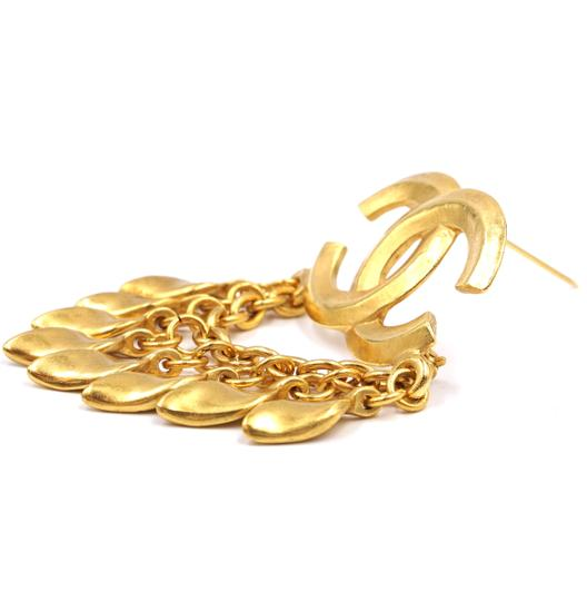 Chanel CC Tassel chain leaf gold hardware brooch pin charm Image 11