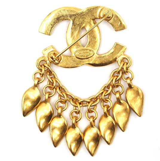 Chanel CC Tassel chain leaf gold hardware brooch pin charm Image 4