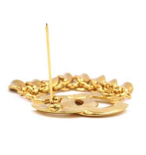 Chanel CC Tassel chain leaf gold hardware brooch pin charm Image 6