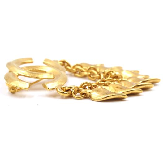 Chanel CC Tassel chain leaf gold hardware brooch pin charm Image 8