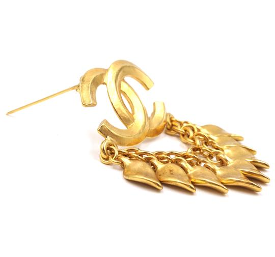 Chanel CC Tassel chain leaf gold hardware brooch pin charm Image 9