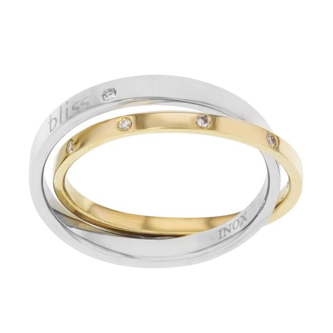 Item - 18k Yellow Gold & Steel Diamonds Ladies Bliss By 0.11 Cttw Size 9 Ring