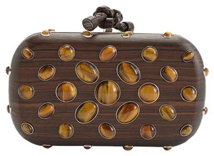 Bottega Veneta Tigers Eye Brown Clutch