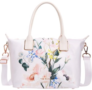 Ted Baker Floral Rose Gold Hardware Shopper Small Eedie Tote in Nude Pink