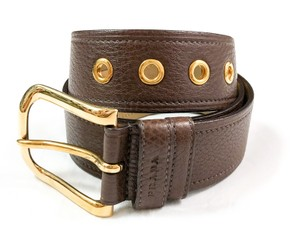 Prada PRADA NEW BROWN PEBBLED LEATHER LOGO LOGO BUCKLE BELT SIZE 75/30