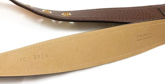 Prada PRADA NEW BROWN PEBBLED LEATHER LOGO LOGO BUCKLE BELT SIZE 75/30 Image 2
