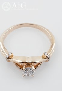 14k Red Gold Diamond 0.4 Ct Tcw 0.34 E/Vs1 Round Brilliant Very Cut - 2.95 Gr Engagement Ring