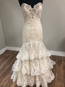 Mori Lee Light Gold with Ivory Over Lace 2810 Traditional Wedding Dress Size 12 (L)