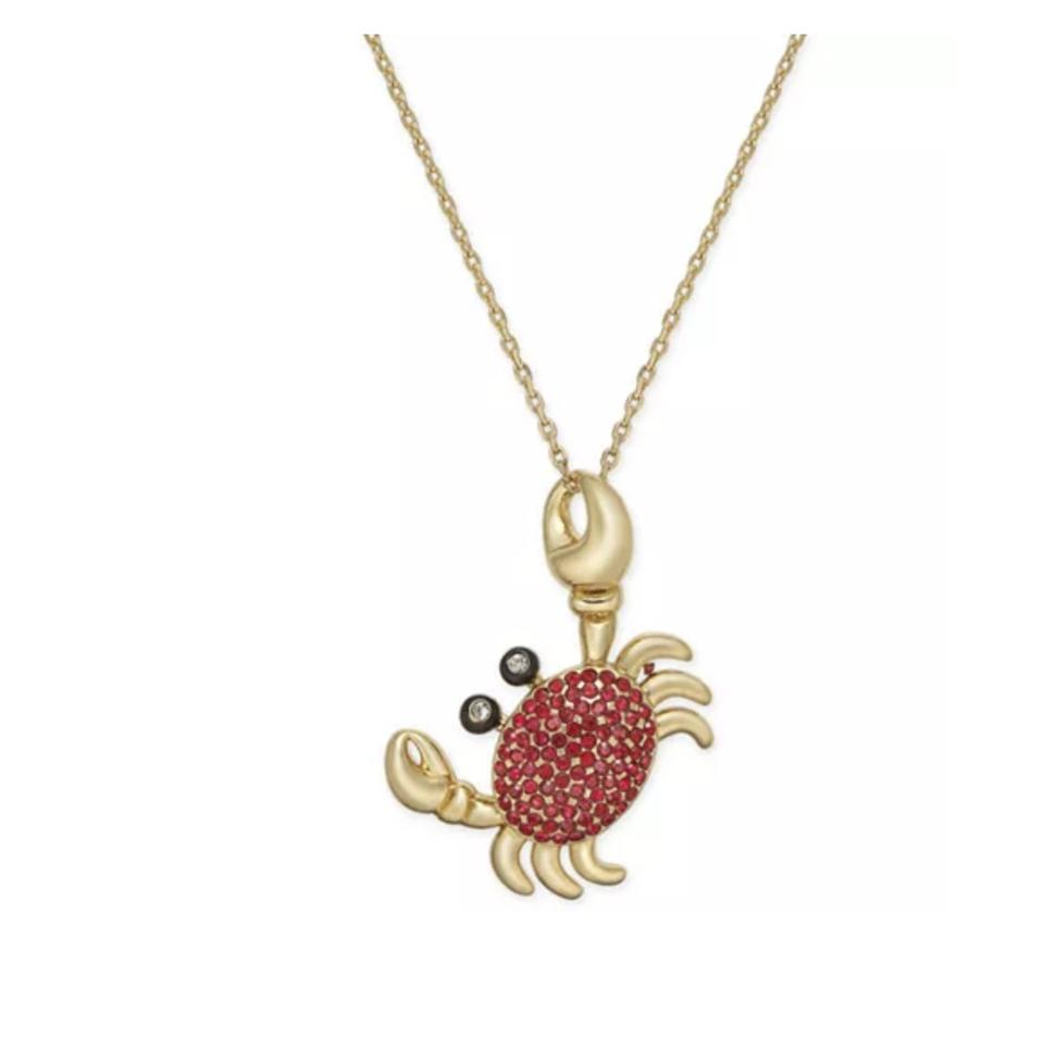 ae7e8439f22d6 Kate Spade Gold Red W Shore Thing Pave Crab Pendant Dust Bag Necklace
